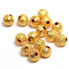 250pcs Charms Golden Dull Polish Round Copper Loose Spacer Beads Findings DIY LC