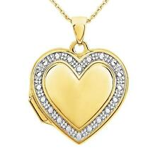 Fabulous! 100% 14K Yellow Gold Heart Shape Locket with White Gold Bead Detail