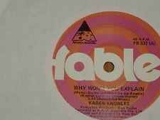 "KAREN KNOWLES *7"" 45 ' WHY WON'T YOU EXPLAIN ' 1980 VGC+"