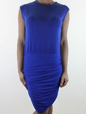 MISSGUIDED cobalt blue ruched stretch jersey bodycon party dress size 8 euro 36