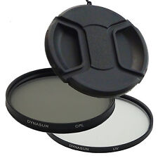 Set 55mm Ultra Violet Filter DynaSun UV 55 +Circular Polarising CPL +Snap-on Cap