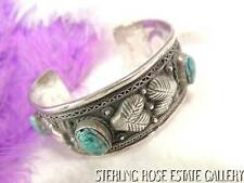 "PUFFY HEART Sterling Silver Hand Crafted TURQUOISE SCARAB 7 1/4"" CUFF BRACELET"