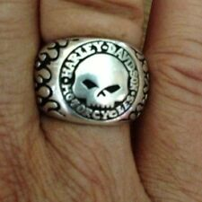 Harley-Davidson Sterling Silver Willie G Skull Ring Tribal Flames Size 10 Unisex