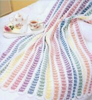 Rainbow Dreams Pretty Afghan Throw Blanket Vintage Crochet Pattern