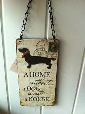 WALL HANGING SIGN 'A HOME WITHOUT A DOG IS JUST A HOME'  DOG LOVER GIFT PLAQUE