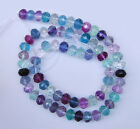 ss0032 8mm AAA Faceted multi-color fluorite rondelle loose gemstone beads 16""