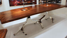 """87"""" L Dining Table Solid Acacia Wood Natural Polished Finish Steel Chrome Base"""