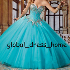 Sweet 15 16 Prom Formal Ball Wedding Gown Crystal Tulle Blue Quinceanera Dresses