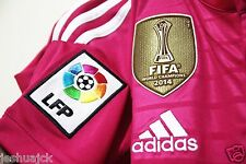 Real Madrid Club World Cup 2014 GOLD SENSCILIA patch pink away 2014 jersey shirt
