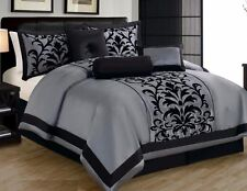 21 Piece Gray Black Comforter +Sheet + Curtain Set King Size DT6