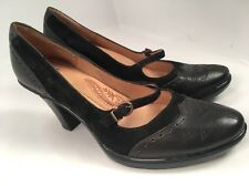 Sofft Black Leather Wingtip Mary Jane Heels Pumps Shoes Women's Sz 8 Comfort