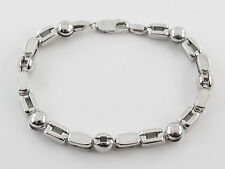 "14k White Gold Fancy Ball Link Men's Bracelet 8 1/2"" 21.1 grams"