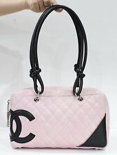 Used Authentic Chanel Cambon Pink Bowler Bag