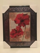 Red Flower Design Collectors Wall Art - Home Decor 8x10""