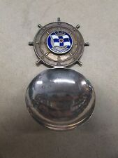 VINTAGE SHIPPING ENAMEL BADGE SOUVENIR SILVER TEA CADDY SPOON TSMV MANOORA