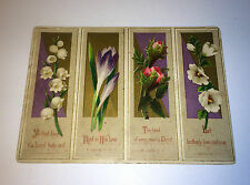 Beautiful Antique Victorian Floral Religious Card - Quotes & Flowers - Purple!