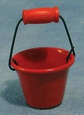 Red Fire Bucket, Doll House Miniatures, Tools, Outdoor Accessory 1.12 Scale