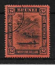 BRUNEI SG48 1910 $25 BLACK ON RED USED
