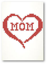 Mom In Heart Cross Stitch Embroidered Greeting Card