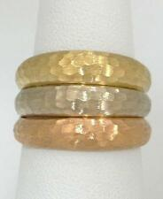 LADIES 18K YELLOW WHITE ROSE TRI HAMMERED GOLD 3 THREE BAND DOME RING 6 1/2 14mm