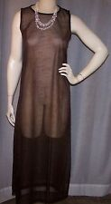NWOT DKNY LG 36 BUST BROWN FLORAL SLEEVELESS SHEER COVER UP MAXI DRESS