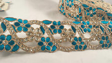 6cm- 1 meter Stunning turquoise gold embellishment diamante lace trim for crafts