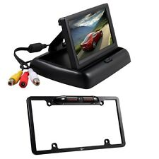 "4.3"" Car LCD Monitor Screen + Rear View 8 IR US License Plate Frame Camera Set"