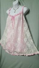 AMOUREUSE SEXY HOLIDAY IVORY/PINK LINED BABY DOLL NIGHTGOWN WOMEN  SIZE 4X NIP