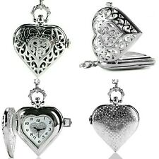 Ladies Vintage Retro Silver Heart Pocket Watch Long Chain Necklace +Gift Bag UK