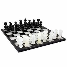 "Onyx Marble Traditional Chess Set Handcarved In Tehuacan Mexico 10.8"" x 10.8"""