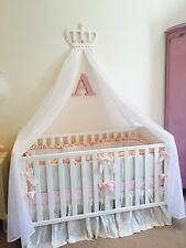 Baby Boys Girls Princess Cot Bed Canopy Crown Pink White Bedding Single Crib Set