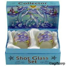 DOLPHINS JUMPING BOXED SHOT GLASS SET (SET OF 2)