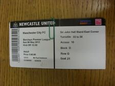 06/05/2012 Ticket: Newcastle United v Manchester City  (folded). Thanks for view