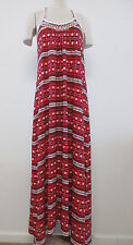 NWT Lucky Brand Size L Red Multi-Color Embroidered Beaded Maxi Dress