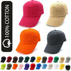 Plain Solid Washed Cotton Baseball Cap Caps Curved Brim Blank Hat Polo Style New