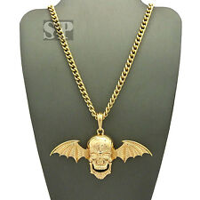 "Hip Hop Gold PT Avenged Sevenfold Skull Wing Pendant 24"" Cuban Chain Necklace"
