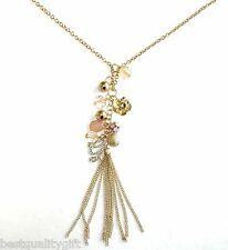 "NEW-GUESS GOLD TONE LONG NECKLACE+FAUX ROSE/PINK BEADS+TASSEL+""G"" LOGO PENDANT"
