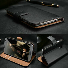 LUXURY REAL GENUINE LEATHER SLIM WALLET STAND COVER CASE FOR SAMSUNG NOTE 3