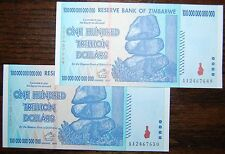2X ZIMBABWE 100 TRILLION DOLLARS | UNCIRCULATED | 2008 AA | OVER 50 IN STOCK