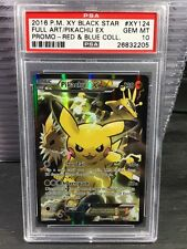 Pokemon Psa 10 Pikachu Ex Full Art Red & Blue Collection Xy124
