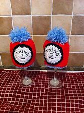 handmade crochet knit baby hat twins thing 1 thing 2 cat in the hat photo props