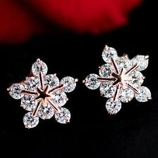 Free shipping Womens 9K Rose Gold Filled & AA CZ Snowflake Earrings Stud Y-Q596