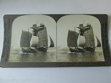 CHINESE JUNK UNDER SAIL ON THE YELLOW SEA  1870-1879 STEROVIEW