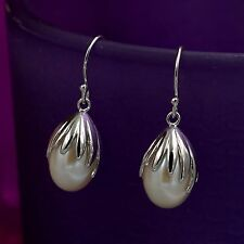 White Freshwater Pearl 925 Sterling Silver Hook Drop Dangle Wire Earrings 08210