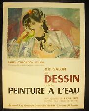 Affiche XXe salon dessin peinture à l'eau aquarelle André Planson 26 oct 1969