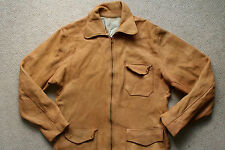 VTG 50s GENUINE BUCKSKIN SOFT BROWN LEATHER JACKET WESTERN TALON ZIP USA SMALL