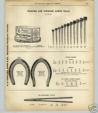 1903 PAPER AD Canada Horse Shoe Nails Wood Wooden Box 11 Nail Sizes Shown