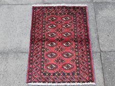 Old Traditional Hand Made Persian Wool Red Oriental Turkoman Small Rug 80x65
