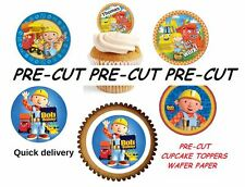 bob the builder round X24 edible stand up cup cake toppers wafer paper *pre-cut*