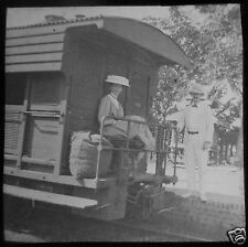 Glass Magic Lantern Slide LADY ON A RAILWAY CARRIAGE POSSIBLY BURMA C1910
